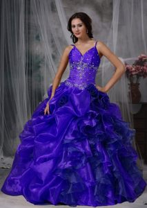 Dark Blue V-neck Quinceanera Gown Dresses with Pickups and Spaghetti Straps